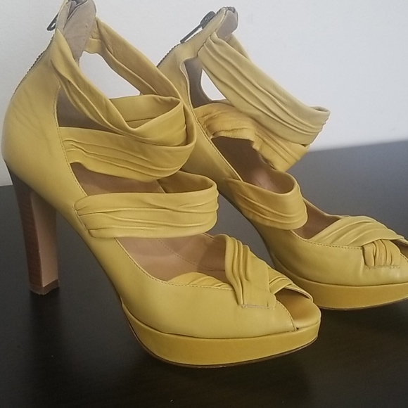 J. Crew Shoes - J Crew Gorgeous Yellow Platform Sandals